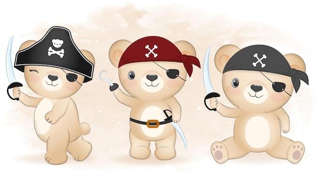 귀여운 해적 곰 손으로 그린 만화 동물 수채화 그림