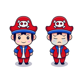 Cute pirate boy with different expressions set