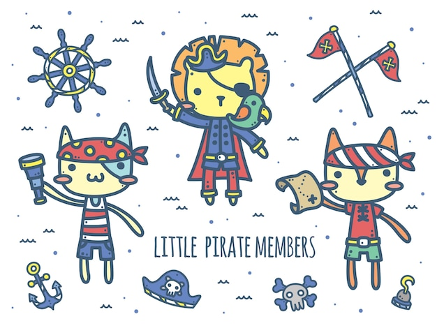 Cute pirate captain and members - animal characters