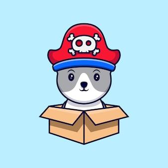 골판지 상자에 귀여운 해적 고양이