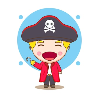 Cute pirate chibi character illustration