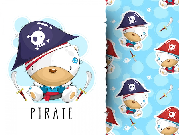 Cute pirate design.t-shirt graphics and pattern for kids
