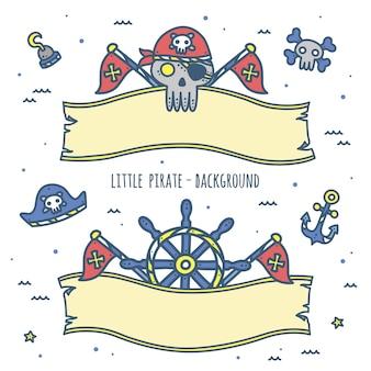 Cute pirate element ribbon design for kids