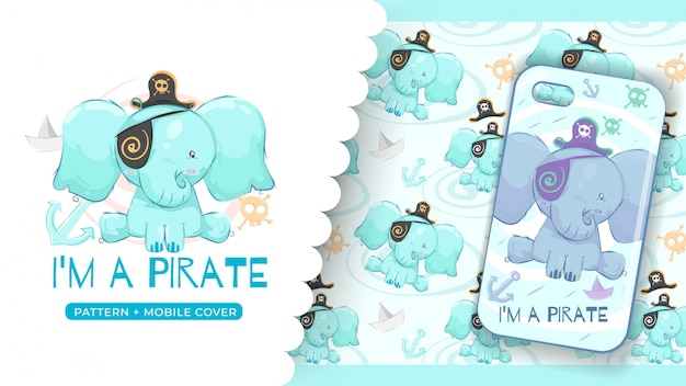 Cute pirate elephant idea for print phone case and pattern