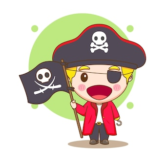 Cute pirate holding a flag chibi character illustration