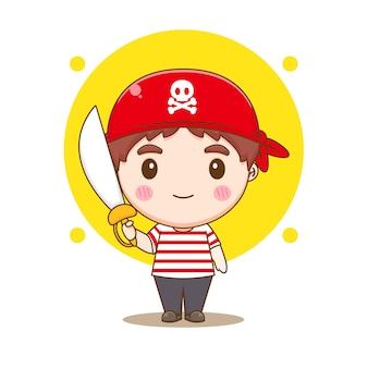 Cute pirate holding sword chibi character illustration