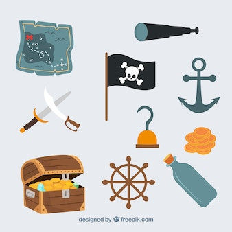 Cute pirate icons vector set