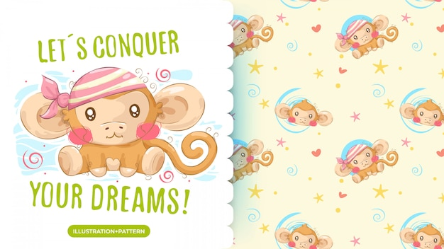 Cute pirate monkey drawing and pattern background