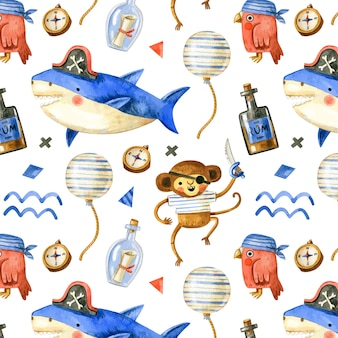 Cute pirate pattern with pirate animals in watercolor style