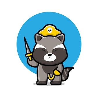 Милый пиратский енот карикатура иллюстрации