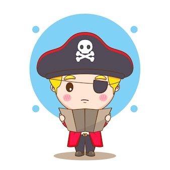 Cute pirate reading a map chibi character illustration