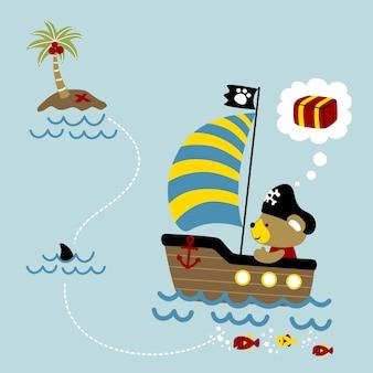 Cute pirate on sailboat