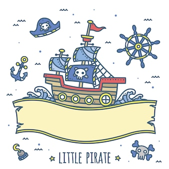 Cute pirate ship ribbon design for kids