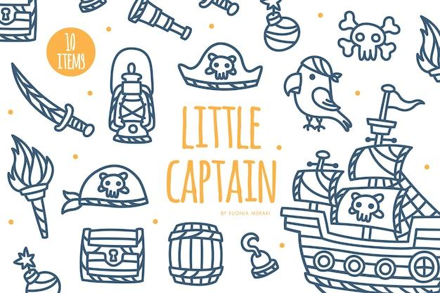 Cute pirate theme element graphic set