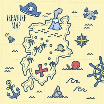 Cute pirate treasure and adventure map for kids