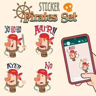 Cute pirates cartoon sticker set