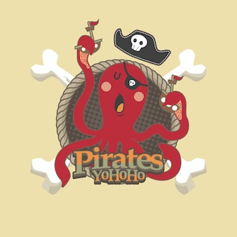 Cute pirates cartoon vector background