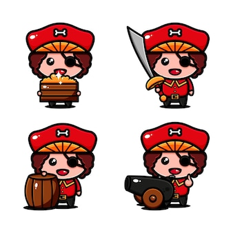 Cute pirates character design themed adventure looking of treasure