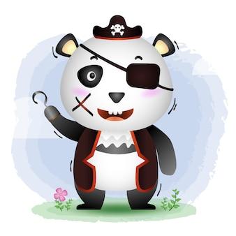 Симпатичные пираты панда иллюстрация
