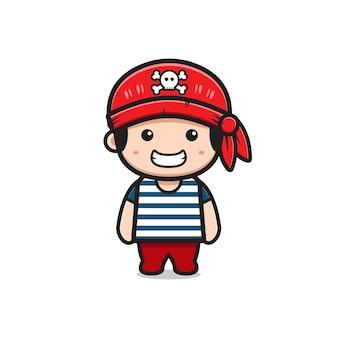 かわいい海賊船乗り漫画アイコンイラスト。孤立したフラット漫画スタイルをデザインする