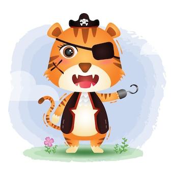 Симпатичные пираты тигр иллюстрация