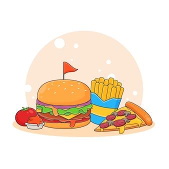 かわいいピザ、ハンバーガー、フライドポテト、トマトソースのアイコンイラスト。ファーストフードアイコンコンセプト。漫画のスタイル