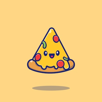Cute pizza cartoon   icon illustration. food icon concept isolated  . flat cartoon style