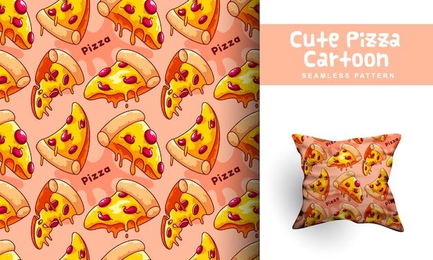 かわいいピザ漫画のシームレスなパターン