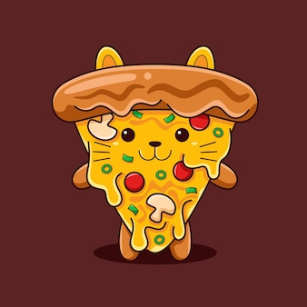 Cute pizza cat illustration with flat cartoon style.