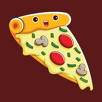 평면 디자인 스타일의 귀여운 피자 캐릭터