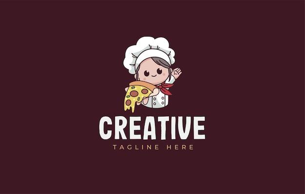 귀여운 피자 요리사 로고 디자인 서식 파일