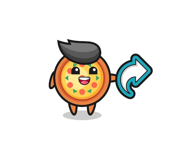 Cute pizza hold social media share symbol , cute style design for t shirt, sticker, logo element