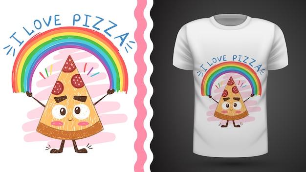 귀여운 피자-프린트 티셔츠 아이디어