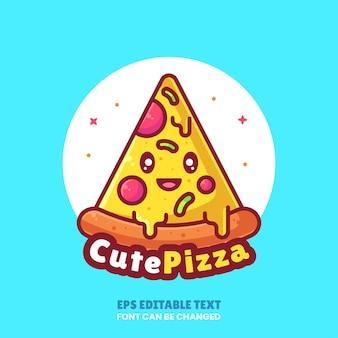 Cute pizza logo cartoon vector icon illustration premium fast food logo in flat style for restaurant