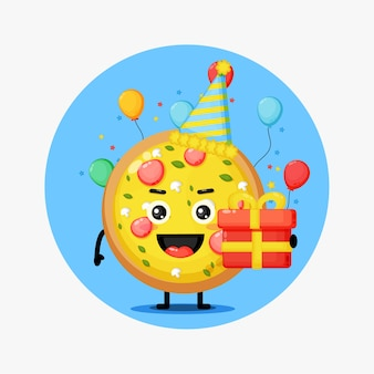 Cute pizza mascot on birthday