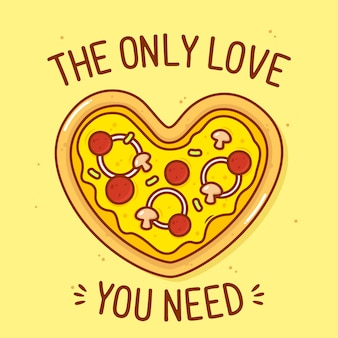 Cute pizza shaped heart with text illustration