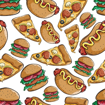 Cute pizza slice, burger and hot dog seamless pattern