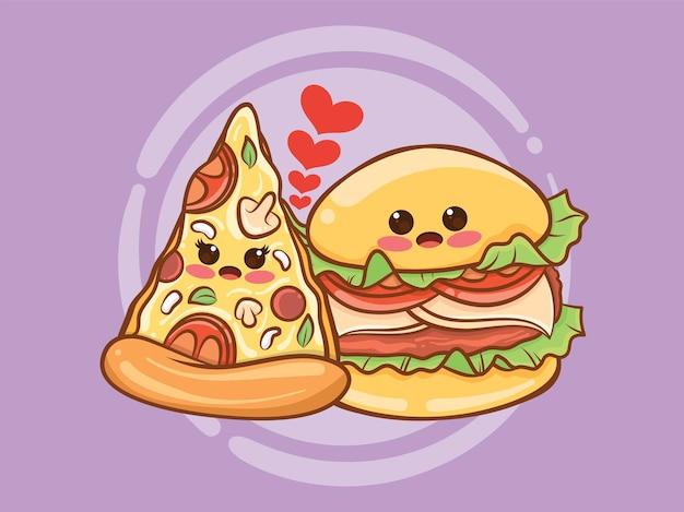 かわいいピザのスライスとハンバーガーのカップルのコンセプト。漫画