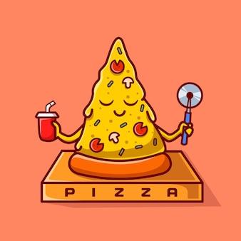 Симпатичные пицца йога медитация мультфильм вектор значок иллюстрации. еда спорт иконка концепция изолированные premium векторы. плоский мультяшном стиле