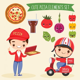 Cute pizze elements cartoon set