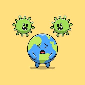 귀여운 행성 지구가 코로나 바이러스에 의해 공격받습니다