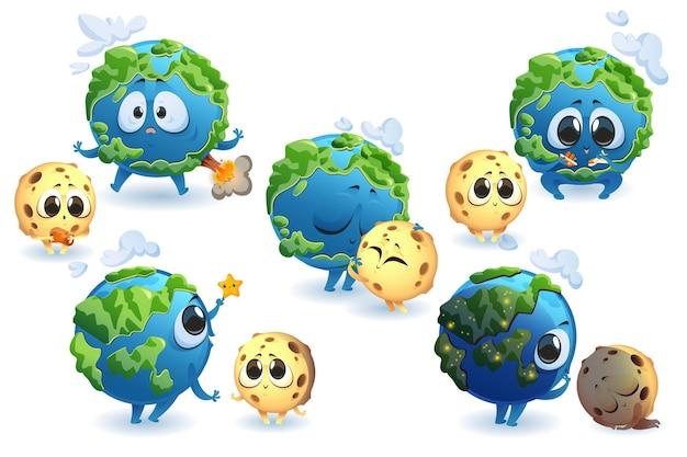 Simpatici personaggi del pianeta terra e della luna in diverse pose insieme isolato di cartone animato divertente pianeta e sorriso satellitare abbracciano il sonno e giocano a terra con vulcano e nuvole