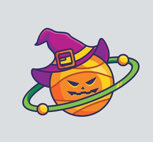 링 마법사와 함께 웃는 귀여운 행성 공포. 만화 할로윈 이벤트 개념 격리 된 그림입니다. 스티커 아이콘 디자인 프리미엄 로고 벡터에 적합한 플랫 스타일. 마스코트 캐릭터
