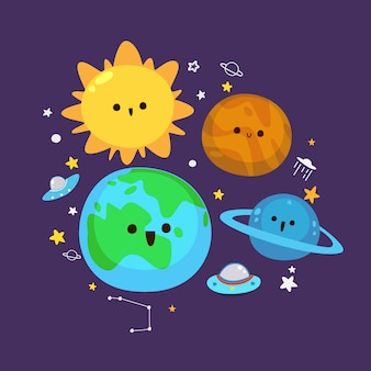 Cute planet illustration