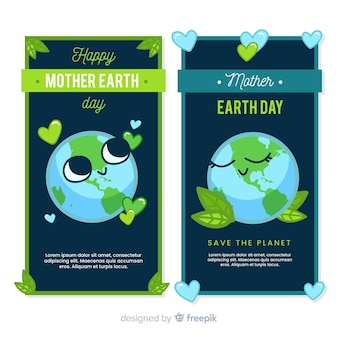 Cute planet mother earth day banner