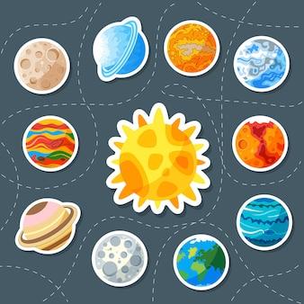 귀여운 행성. 상표. 토성, 화성, 해왕성, 지구, 금성, 수은, 목성, 천왕성, 명왕성