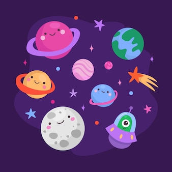 Cute planets characters set