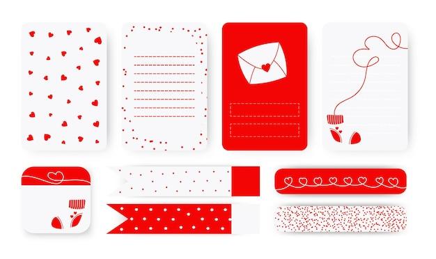 귀여운 플래너 배경 메모장 페이지 목록, 스티커 및 덕트 테이프 세트에 대한 템플릿. 추상적 인 마음으로 로맨틱 레터 헤드입니다. 발렌타인 데이를위한 스케줄러 선물