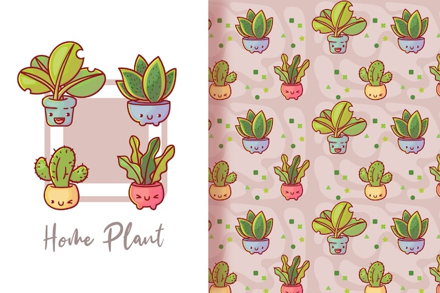 귀여운 식물 카드와 완벽 한 패턴입니다. 프리미엄