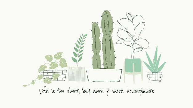 블로그 배너에 대 한 귀여운 식물 연인 견적 템플릿 벡터 낙서